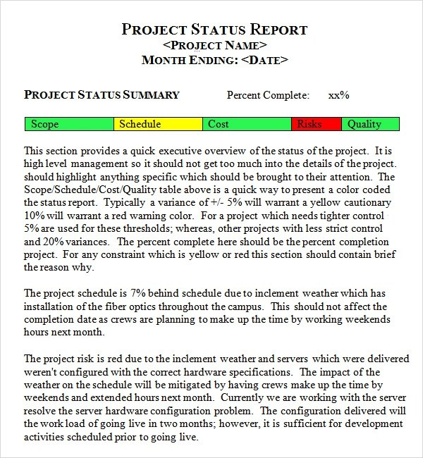 project management status report template - project management report templates