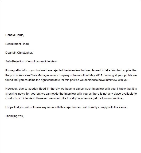 Rejection Letter After Interview gplusnick