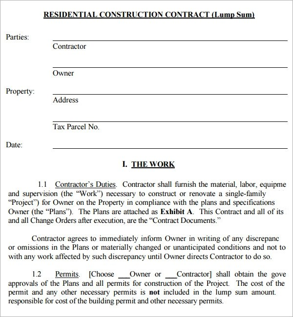 construction contract template - free contract templates