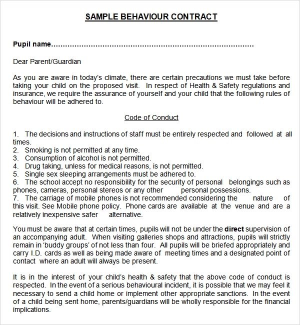 sample behavior contract template - Student Contract Templates