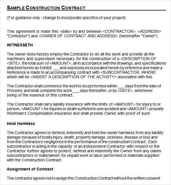 construction contract template - construction contract samples