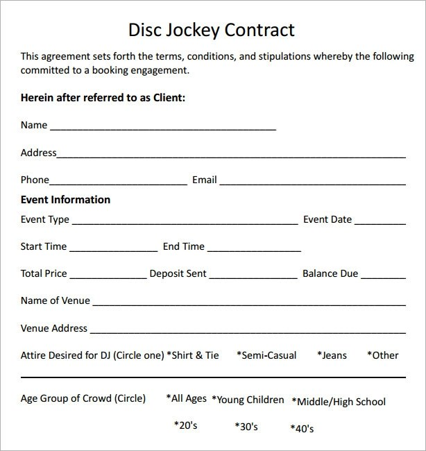 sample dj contract template - simple contract examples