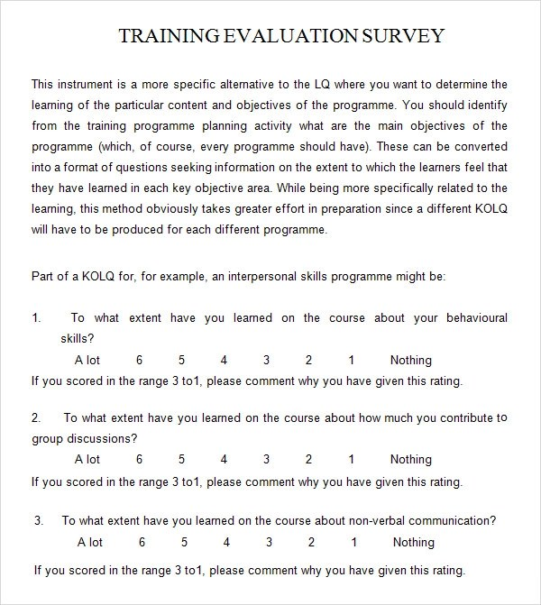 training evaluation form templates - sample course evaluation form
