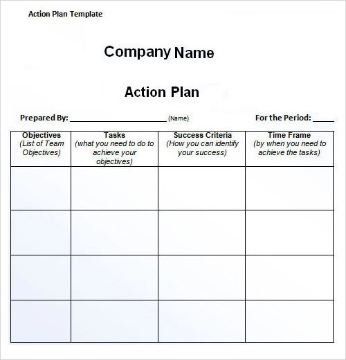 free action plan template - action plan templates word