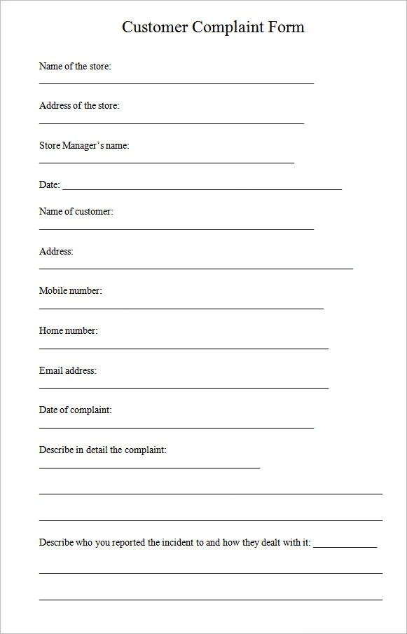 customer complaint form template - customer complaints form template