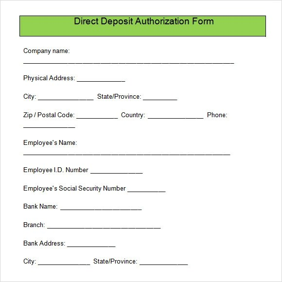 direct deposit form template - direct deposit authorization form example