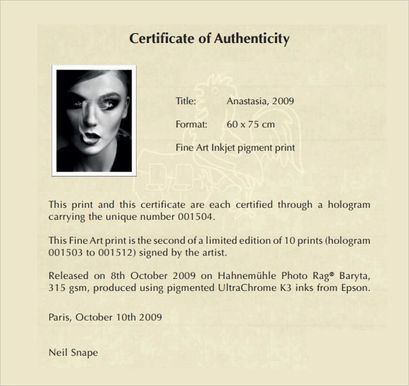 letter of authenticity template - Intoanysearch - certificate of authenticity template