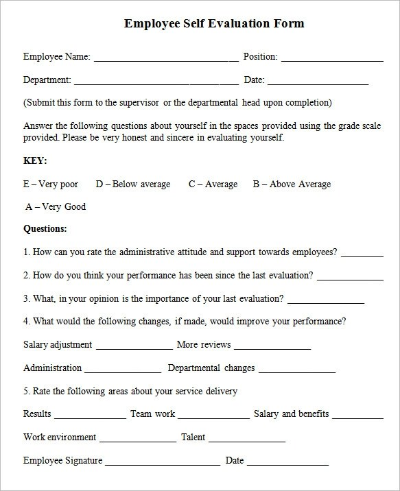 employee self evaluation form template - employee self evaluation form