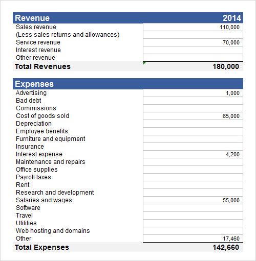sample income statement template - Income Template