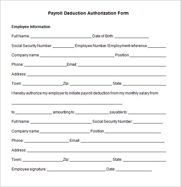 payroll deduction authorization form template - authorization template