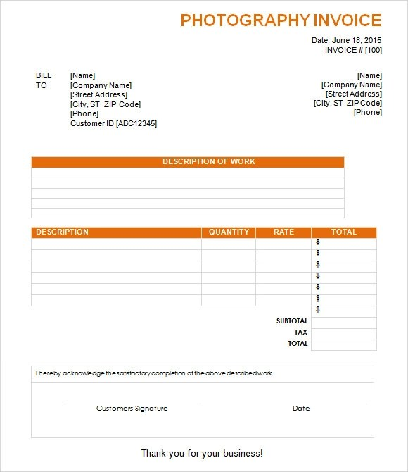 photography invoice template word - Invoice Receipt Template Word