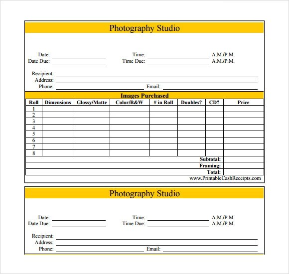photography invoice template word