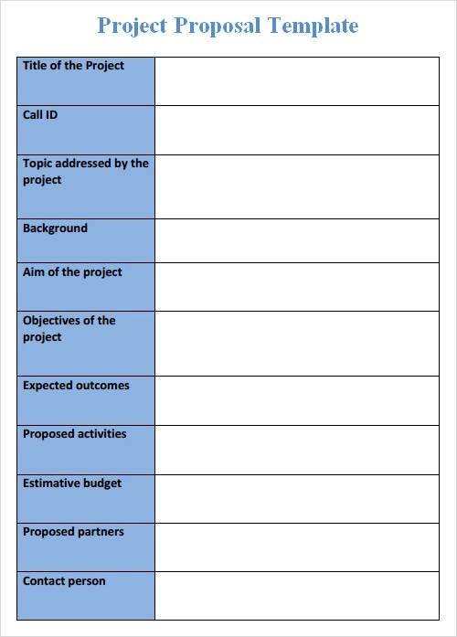 project proposal form template - project proposal word template