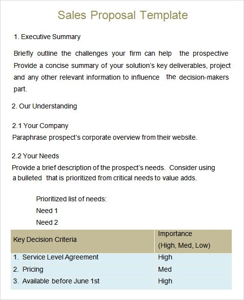 Sales Proposal Template Gallery - Template Design Ideas - free sales proposal template