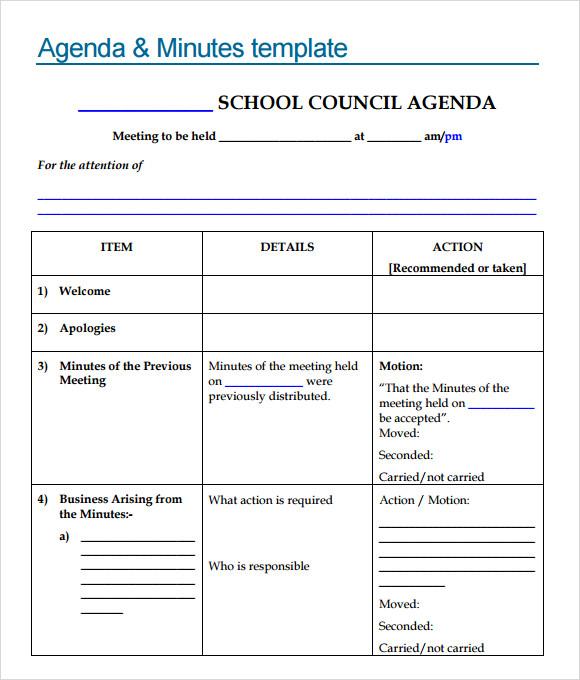 school meeting agenda template - agenda of meeting template