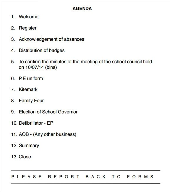school meeting agenda template - sample board meeting agenda