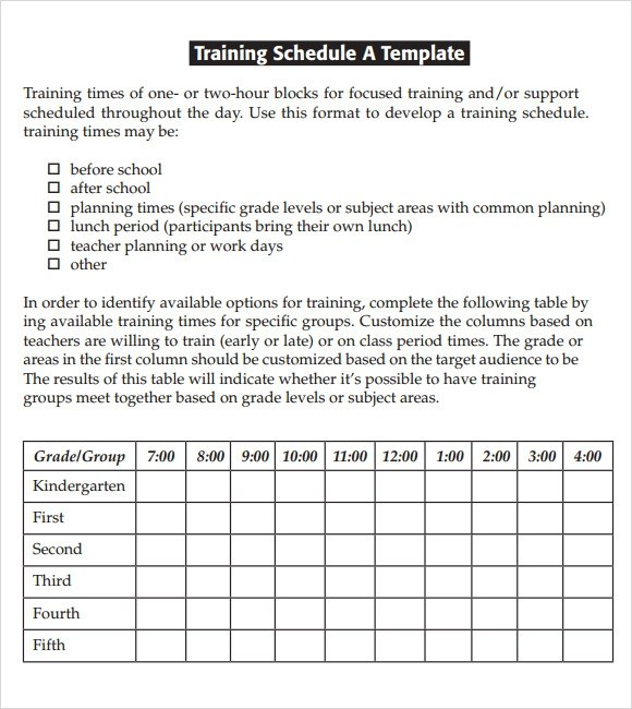 army training calendar template