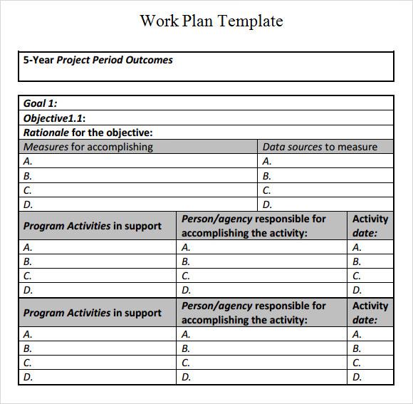 sample work plan template