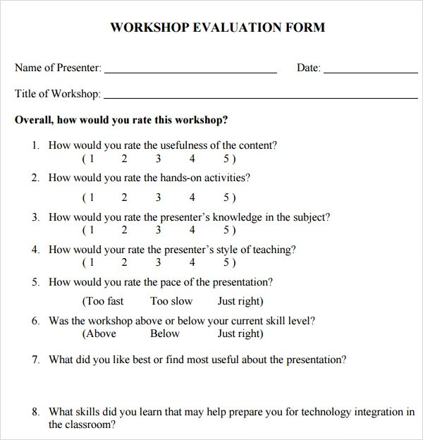 seminar feedback form template - seminar evaluation form
