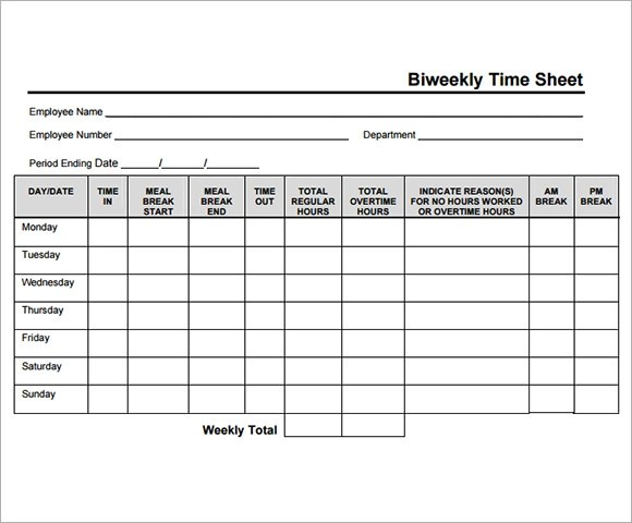 bi weekly timesheet template - free timesheet forms