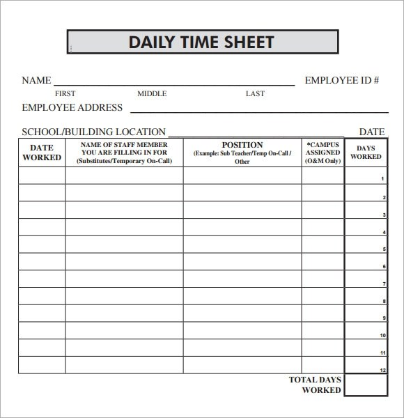 daily time sheet template excel