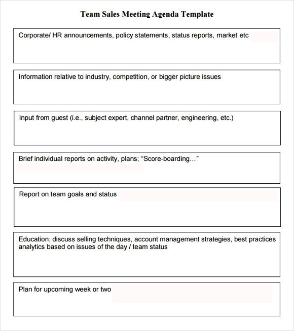 sales meeting agenda template - how to make an agenda for a meeting template