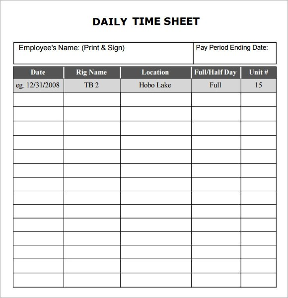 daily timesheet template excel - free timesheet forms