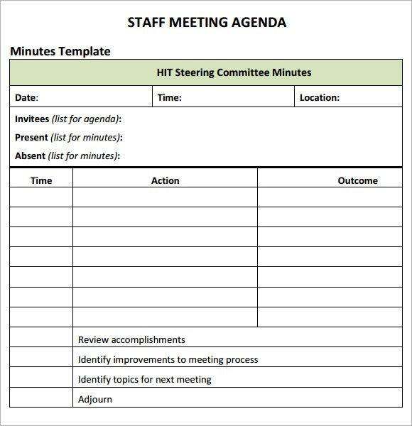 sample staff meeting agenda template - format for a meeting agenda