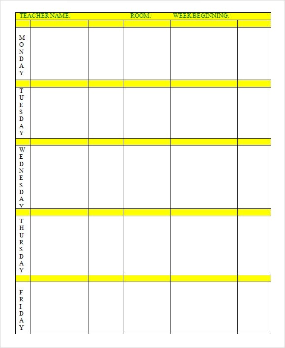 weekly lesson plan template word - One Week Calendar Template Word
