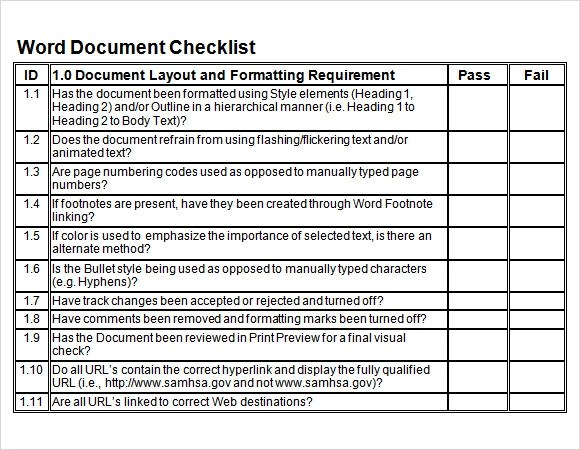 checklist document template
