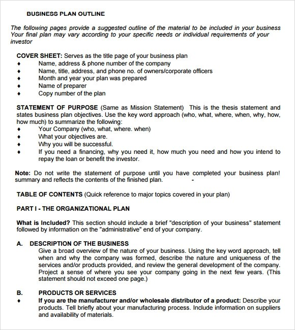 free sample business plan template - business plan free template word
