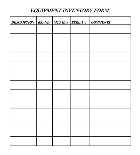 equipment inventory forms templates - inventory form template
