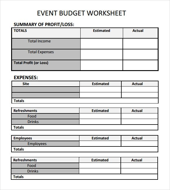 simple event budget template - Sample Budget Sheet