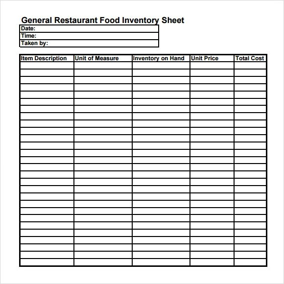 food inventory template - document inventory template