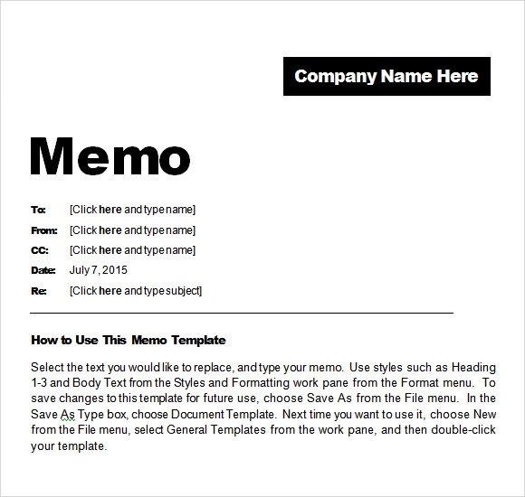 microsoft word memo template - Sample Business Memo