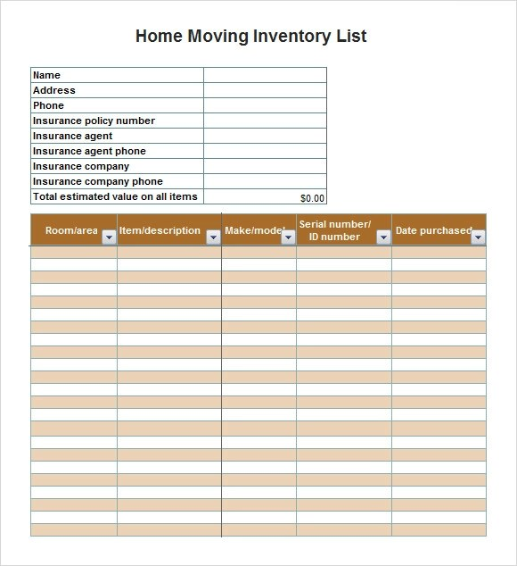 clothing inventory list template - tenancy inventory template
