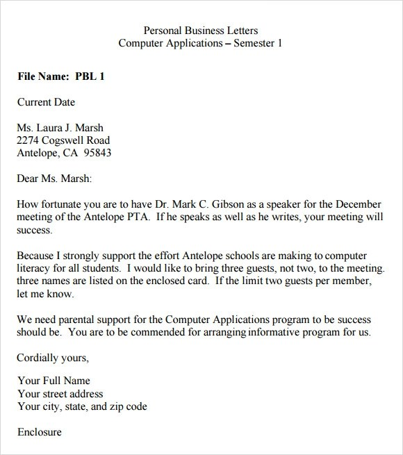 personal business letter template - personal business letter example