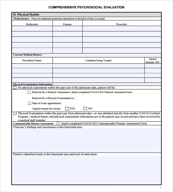 psychosocial assessment template - assessment form in pdf