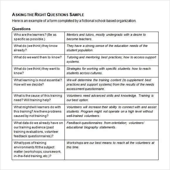 needs assessment template word - assessment example pdf