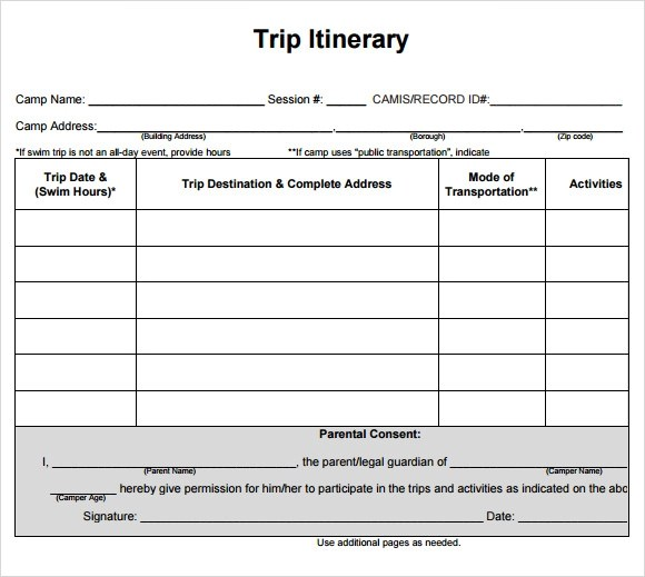 travel itinerary template word