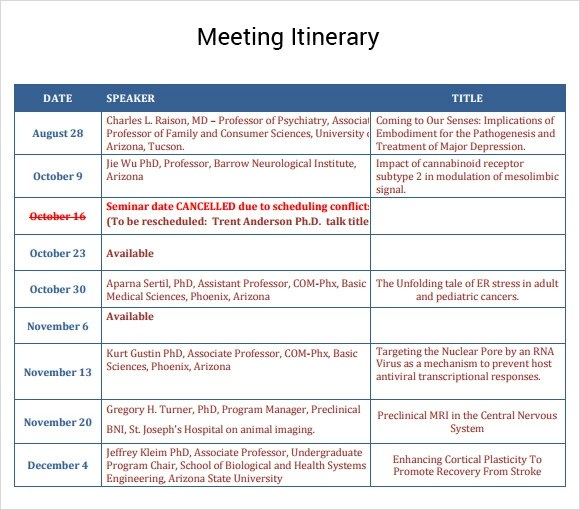 business meeting itinerary template - Pinarkubkireklamowe