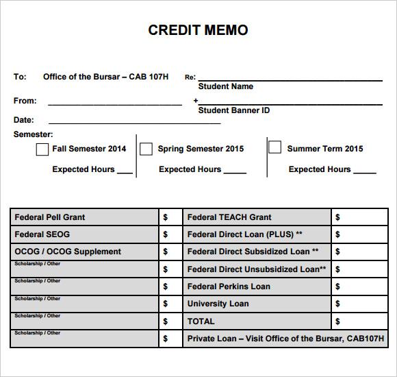 free credit memo template download - credit memo sample