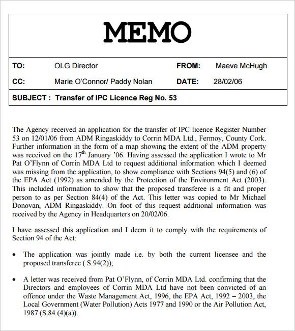 sample internal memo template - office memo template
