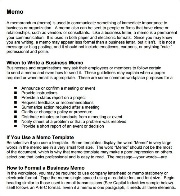 business memo template