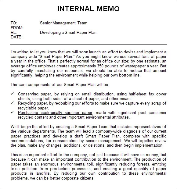 sample internal memo template