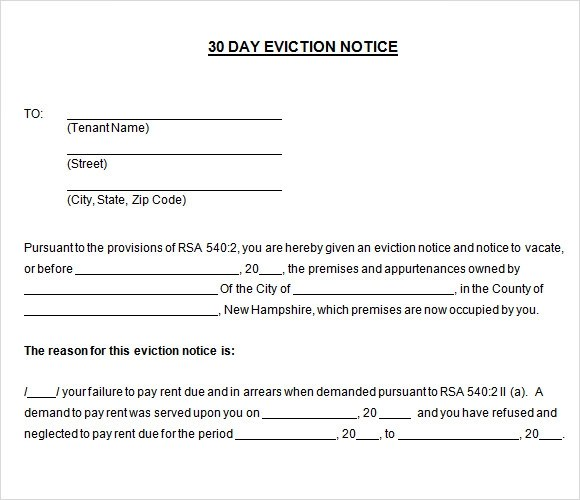30 day eviction notice template - 30 Day Notice Template