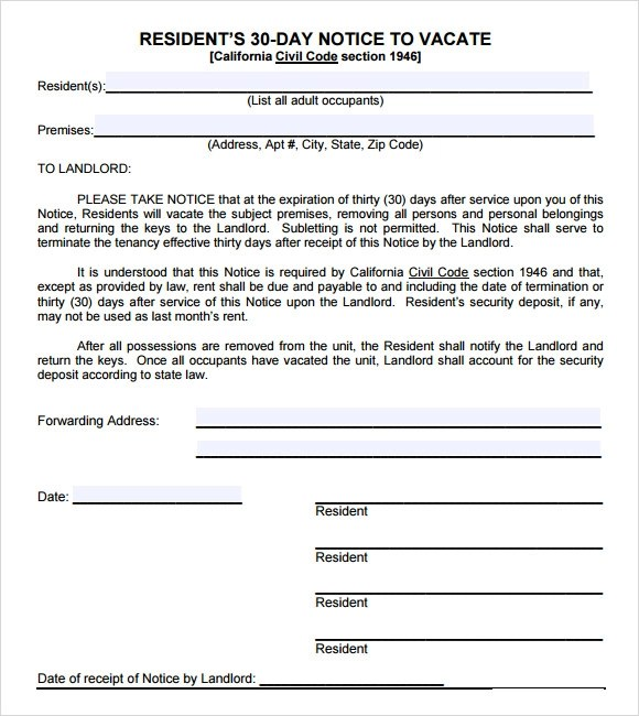 30 day notice templates free - 30 Day Notice Template
