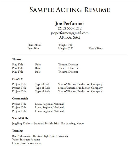 sample acting resume template - how to write a resume for acting