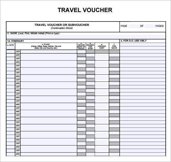 blank travel voucher template - expense voucher template