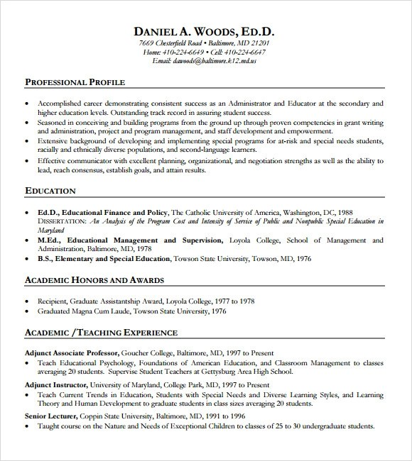 teacher resume template microsoft word - Educational Resume Examples